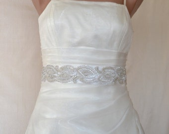 Bridal sash, wedding sash, rhinestone applique sash, ivory sash, wedding belt, bridal dress belt, crystal sash, satin ribbon sash