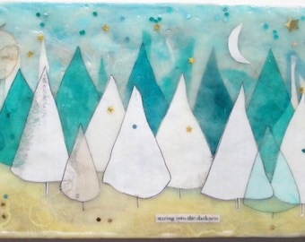 Encaustic collage art, tree illustration, moon and sky, snowy white trees, tree painting