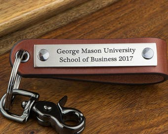 Graduation Gift for Him, College Graduation Gift Idea, Graduation Keychain, Class of 2018, Masters Degree, Men Personalized Leather Keychain