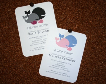Baby, Twin, Triplet, Multiple Whale Shower Invitations / Personalized / Twin Boys / Twin Girls / Boy & Girl Twins / Set of 10