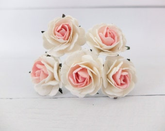 5 35mm cream pink paper roses - paper flowers - mulberry paper pink rose (Style 1)