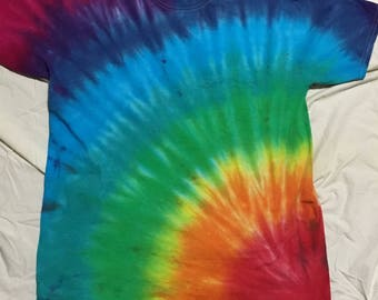 Corner rainbow burst tie dye shirt