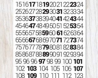 Math: Prime Numbers Greeting Card | Math Stationery, recycled paper, math nerd, nerdy card, black and white,