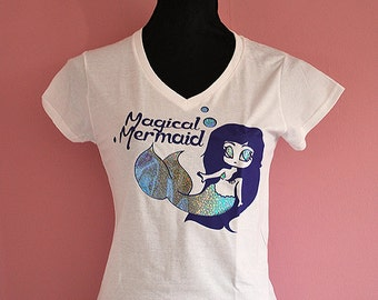 Magical mermaid  T-shirt with holographic glitter print - ladies fitted V-neck shirt fairy kei girly fantasy kawaii manga anime chibi