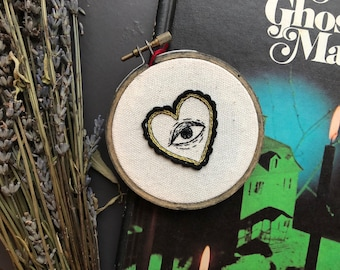 Heart Framed Lover's Eye 3 inch embroidery