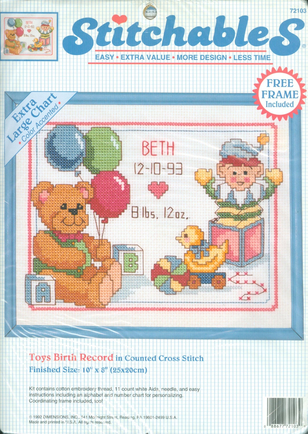 1992 Toys Birth Record Nip Diy Counted Cross Stitch Kit With