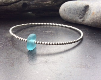 Sea glass jewelry, Sterling silver beaded bangle bracelet with sea glass accent