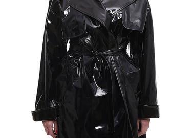 Black raincoat Black rainjacket Black vinyl coat Faux leather coat Glossy Belted Oversized Womens