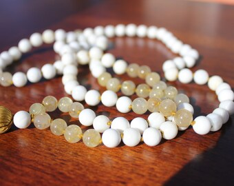 Gold Rutilated Quartz and Shell 108 Bead Mala Hand Knotted Meditation Jewelry Yoga Jewelry