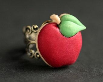 Apple Ring. Red Ring.  Fruit Ring.  Red Apple Ring. Food Ring. Adjustable Ring. Apple Jewelry. Bronze Ring. Food Jewelry. Handmade Jewelry.