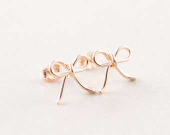 Bow Earrings, Rose Gold Bow Studs, Rose Gold Bow Posts, Everyday Earrings, Bridesmaid Gift