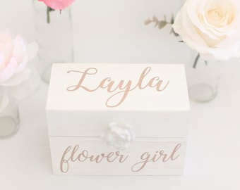 Flower Girl or Bridesmaid Gift Box Proposal Jewelry Wedding Gift Bridal Party Bridal Shower Present Will You Be My Flower Girl (BBND20182)