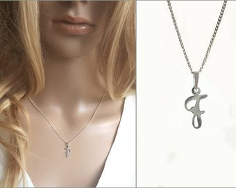 Modern Necklace F, Alphabet Letter Pendant, 925 Sterling Silver, Initial F Charm, F Letter Chain Necklace, Personalized Jewelry