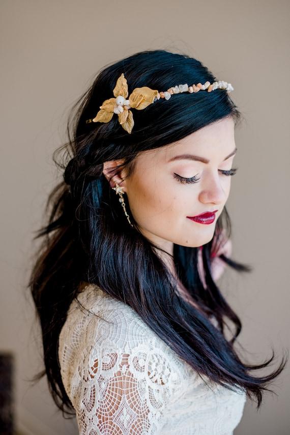 Bridal Headband, Wedding Accessory, Leaf Headband, Moonstone Tiara, Moonstone Headband, Wedding Headband, Boho, Boho Headband JUNIPER