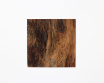 "3mm W308 Dark brown, white and drown marble acrylic perspex  ""Mahogany"" 297x370mm"