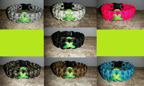Lymphoma Cancer Awareness 550 paracord survival bracelet lime green ribbon