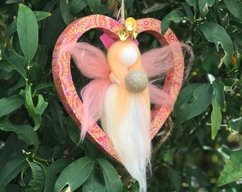 READY TO SHIP Girls Room Ornament Needle Felted wool doll The love fairy....just make a wish...