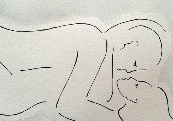 Line Art Couple : Wall art for bedroom ink drawing black and white nude couple