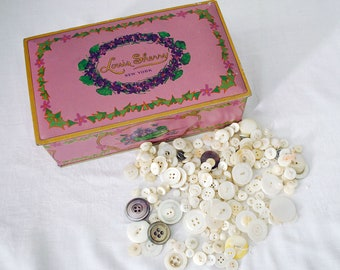 500+ Mother of Pearl Button Lot, Louis Sherry Candy Tin, Vintage Shabby Chic Decor, Sewing Art Craft Supplies, Lavender Purple Tin Box