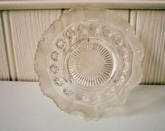Clear glass trinket dish shallow