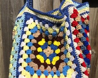 Large Crochet Granny Square Bag