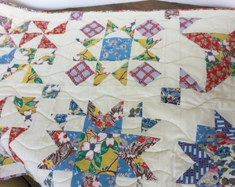 """Quilted table/bed runner, vintage feed sacks, 29"""" X 86"""""""