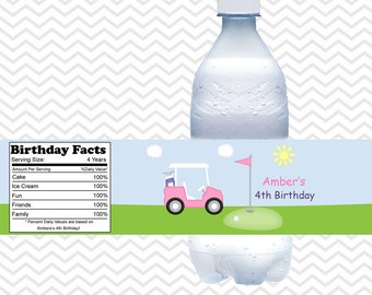 Golf Cart Pink - Personalized Water bottle labels - Set of 5 Waterproof labels