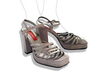 Silver strappy platform sandals!