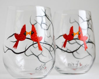 Painted Wine Glasses - Gay Love Birds Stemless Wine Glasses - Set of 2 Painted Lesbian Love Birds