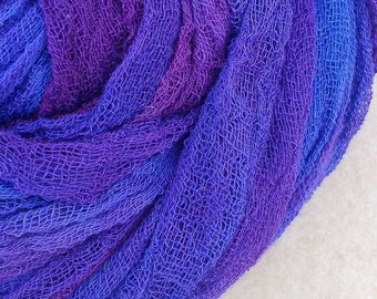 Hand dyed Cotton Scrim, Gauze, Scarf for nuno felting, art and mixed media projects.  Colour No.05 Violet, Purple, Blue, Magenta,