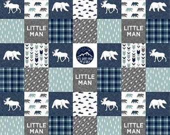 Crib Bedding Baby Boy, Rustic Minky Baby Blanket, Woodland Baby Quilt, Baby Boy Quilt, Gray Grey Blue Navy Little Man Moose Bear Plaid