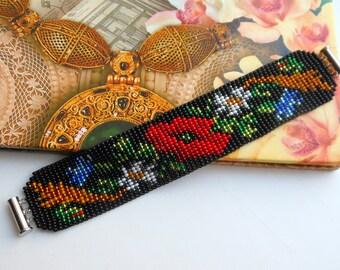 Red poppy bracelet Ukrainian bracelet Bracelet with poppies Black bracelet Bracelet beads Flower Bracelet Ukrainian Gerdan Gift for her