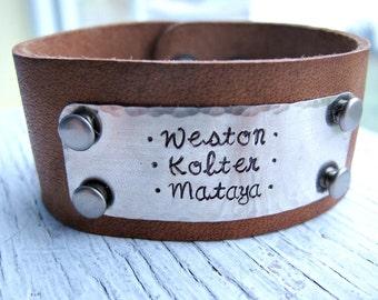 Handstamped Leather Cuff Bracelet, Kids Names, Personalized Leather Bracelet, Woman's Leather Cuff