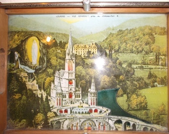 Antique French Tray Circa 1900s Lourdes Chateau Fort in France Picture Souvenir Keepsake