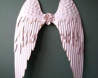 Angel Wings. Pink Angel Wings wall decor. Pink w/ Giled edges. Holidays decor, Nursery decor.