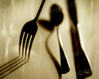 Got Fork - Photograph Print - 7x7 Sepia Shadows Decay, Old, Antique Look, Vintage Style, Flatware, Spoon, Knife, Tea Coffee  by Jean Lannen