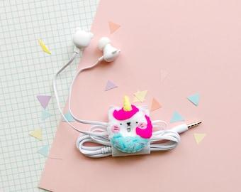 Cat Unicorn felt earphone organizer with bear-shaped headphones, iphone earbuds, samsung earpods, phone accessories, caticorn