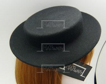 TRENDY Fashion Plain Wool Felt Miniature Boater Hat Fascinator DIY - Black