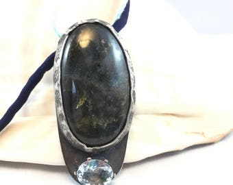 Necklace- Labradorite and Aquamarine, Silver