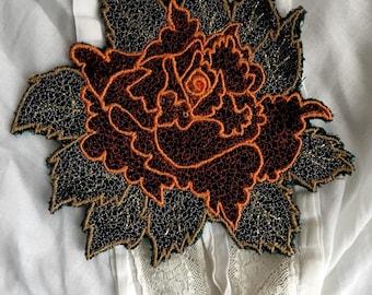 soft textil brooch,Rose,hand embroidery,fashion,orange color,hand made work