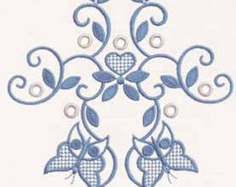 Machine embroidery designs Vintage blue butterfly