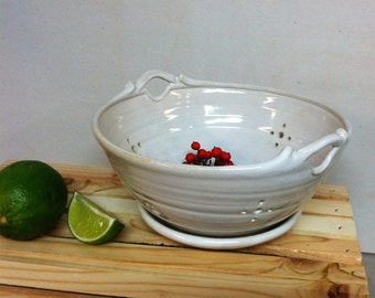 handmade berry bowl, colander, white , ceramic colander, white berry bowl, hostess gift, gift ideas, mother's day gift