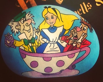 Alice in wonderland painted stone