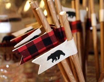 Lumberjack Party Straw, Buffalo Plaid Straw Flags, Lumberjack Printable Decor, Lumberjack Birthday Decor, Bear Straw Flags, DIGITAL