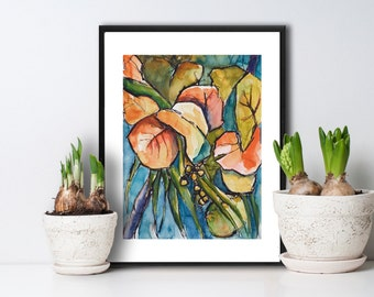 Art Painting Watercolor Tropical Seagrape Tree Palm Leaves PRINT