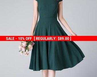 summer green dress, simple dress, cap sleeves dress, vintage dress, knee length dress, evening summer dress, linen dress woman  1904