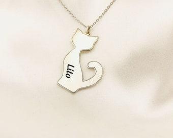 Sterling silver bar necklace, cat design necklace