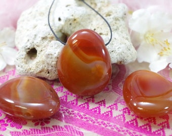 Natural carnelian stone drilled pendant