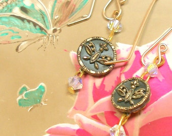 1800s mini BUTTON earrings, Edwardian tiny BUTTERFLIES on gold. Antique button jewellery.