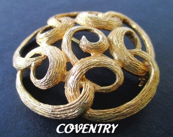 COVENTRY Pin/Brooch * Swirl Design * Classic Vintage Brooch